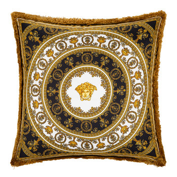 I Love Baroque Silk Pillow - 50x50cm - Black/White/Gold