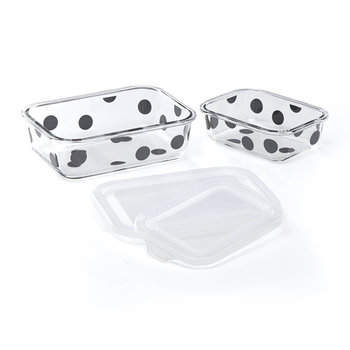 Deco Dot Food Storage Dishes - Rectangular - Set of 4