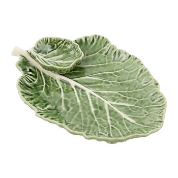 Cabbage Leaf Dish with Dip Bowl - 28cm