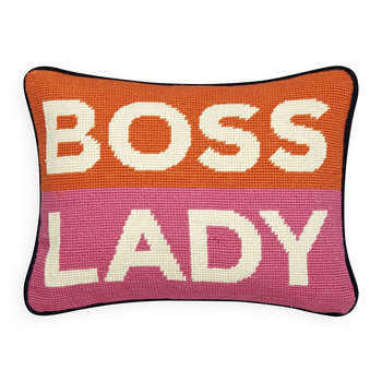 UK Needlepoint Personality Pillow - Boss Lady