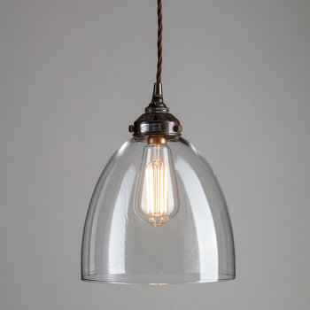 Blown Glass Bell Pendant - Bronze