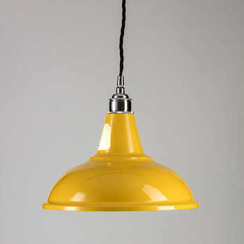 British Spun-Steel Factory Pendant - Yellow