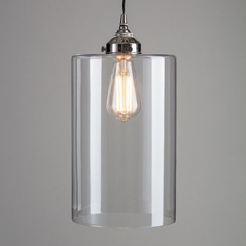 Blown Glass Cylinder Pendant - Nickel