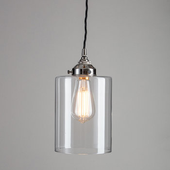 Blown Glass Cylinder Pendant - Nickel - Small