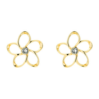 Basilio Mini Crystal Bloom Earrings - Gold/Crystal