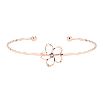 Beysa Mini Crystal Bloom Thin Cuff - Rose Gold/Crystal