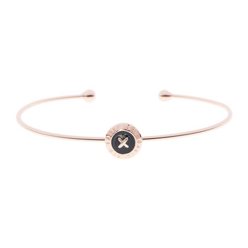 Elvas Mini Button Ultra Thin Cuff - Rose Gold/Black