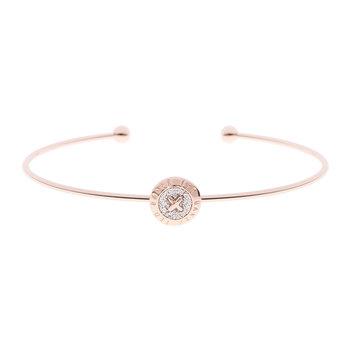 Elvas Mini Button Ultra Thin Cuff - Rose Gold/Silver Glitter