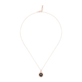 Emmalyn Big Button Necklace - Rose Gold/Black