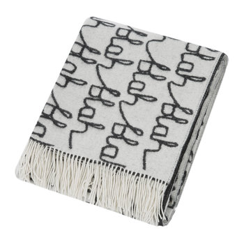 Blah Blah Lambswool Throw/Blanket - Black/White
