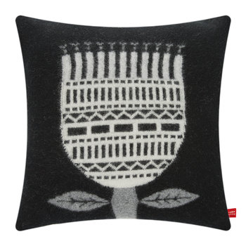 Knitted Flower Cushion - Black