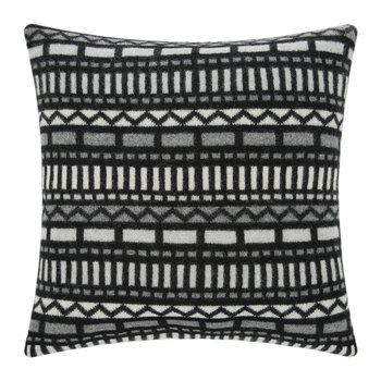 Knitted Geometric Cushion - Black