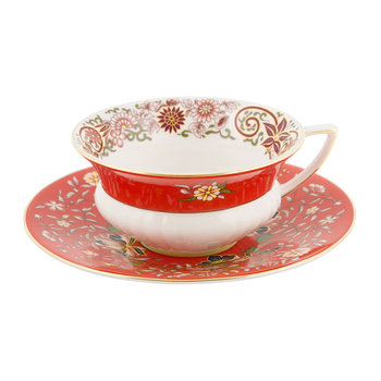 Wonderlust Teacup & Saucer - Crimson Orient