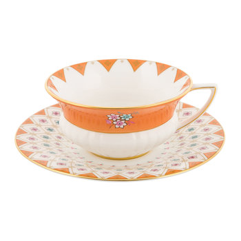 Wonderlust Teacup & Saucer - Peony Diamond