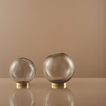 Globe Vase - Medium - Black Glass & Brass