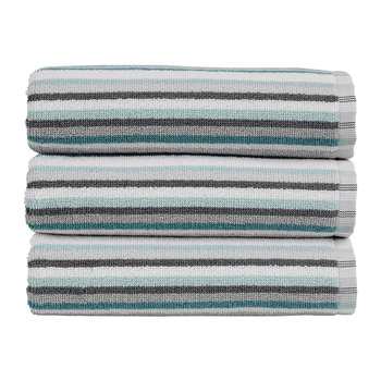 Henley Stripe Towel - Dove Grey