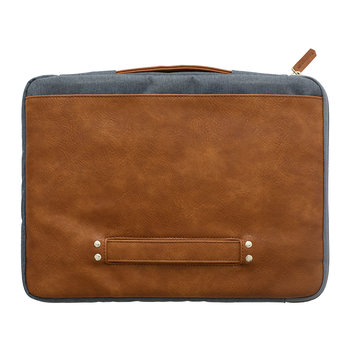 aSleeve Laptop Case - PU Leather/Canvas - Grey Blue