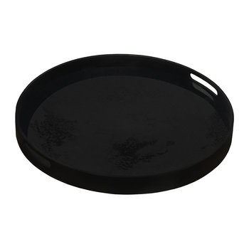 Heavy Aged Charcoal Mirror Tray - Round - Small