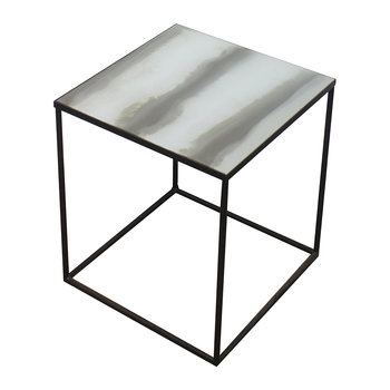 Large Champagne Stria Square Side Table - Low