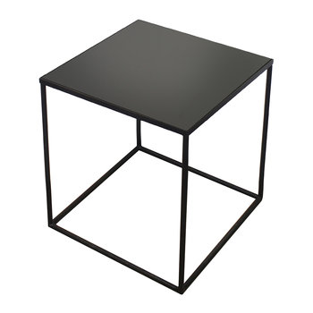 Large Charcoal Mirror Square Side Table - Low