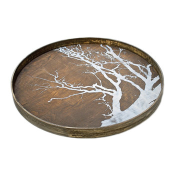 Round Tree Driftwood Tray - Large - White