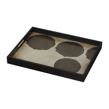 Silver Dots Glass Tray - Rectangular - Small