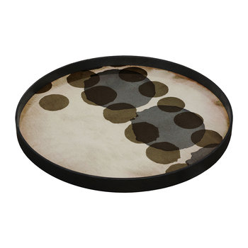 Slate Layered Dots Glass Tray - Round - Large