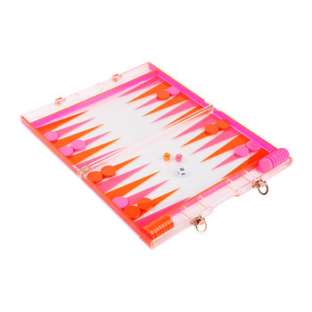 Backgammon Lucite Set - Neon Orange & Neon Pink