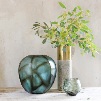 Bickton Glass Vase - Steel Blue