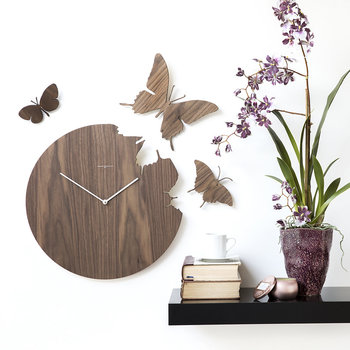 Large Butterfly Wall Clock - White
