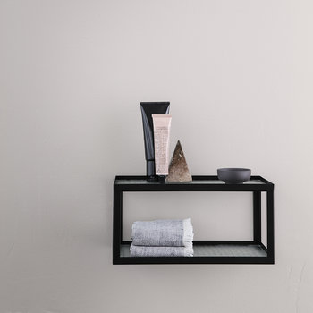 Glass Haze Shelf With Metal Frame - Black