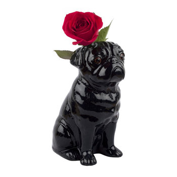 Ceramic Pug Vase - Large - Black