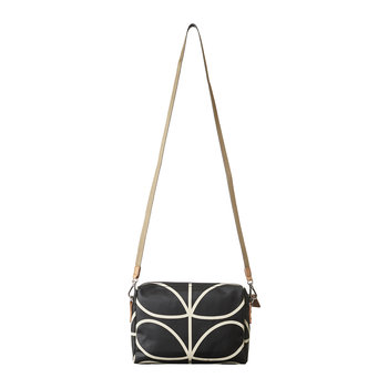 Laminated Giant Linear Stem Cross Body Bag - Black/Cream