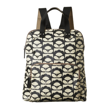 Laminated Spring Bloom Backpack Tote - Charcoal