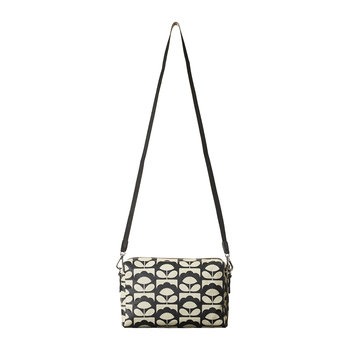 Laminated Spring Bloom Cross Body Bag - Charcoal
