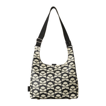 Laminated Spring Bloom Midi Sling Bag - Charcoal