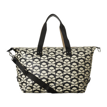 Laminated Spring Bloom Zip Holdall - Charcoal