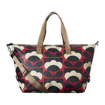 Laminated Spring Bloom Zip Holdall - Poppy
