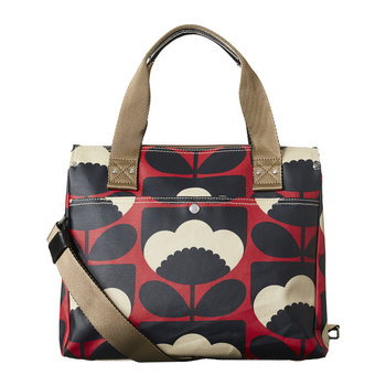 Laminated Spring Bloom Zip Messenger Bag - Poppy