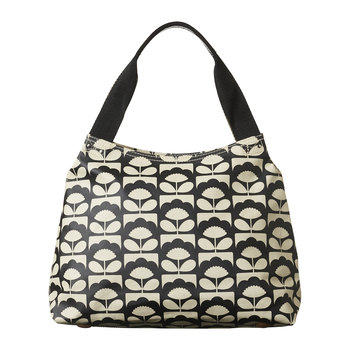 Laminated Spring Bloom Zip Shoulder Bag - Charcoal