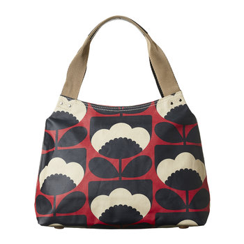 Laminated Spring Bloom Zip Shoulder Bag - Poppy