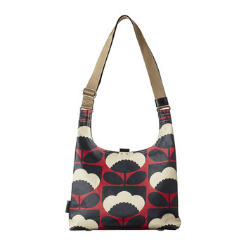Laminated Spring Bloom Midi Sling Bag - Poppy