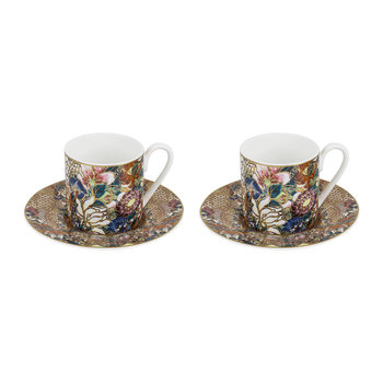 Golden Flowers Coffee Cup & Saucer - Set of 2 - Luxury Gift Box