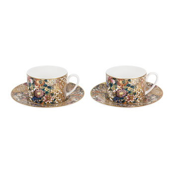 Golden Flowers Teacup & Saucer - Set of 2 - Luxury Gift Box