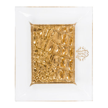 Crocodile Glass Dish - Clear/Gold - Rectangular