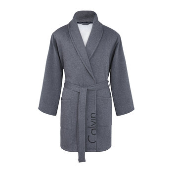 Modern Cropped Logo Bathrobe - Charcoal