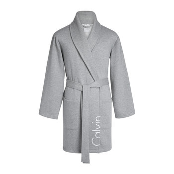 Modern Cropped Logo Bathrobe - Grey