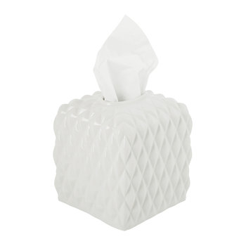 Black Tie Tissue Box - White