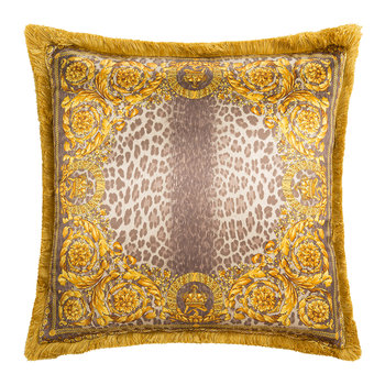 Coussin Animalier Couronne - 50x50cm - Noyer/Or