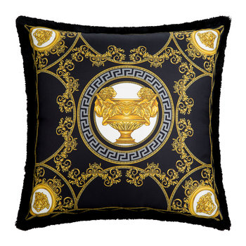La Mini Coupe Silk Pillow - 45x45cm - Black/Gold
